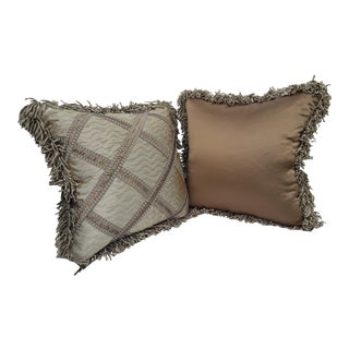 Fringed Silver Accent Pillows - A Pair