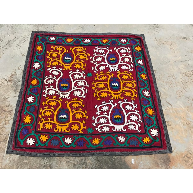Vintage Square Suzani Fabric - Handmade Table Cover - 4.0' x 4.2' - Image 4 of 6