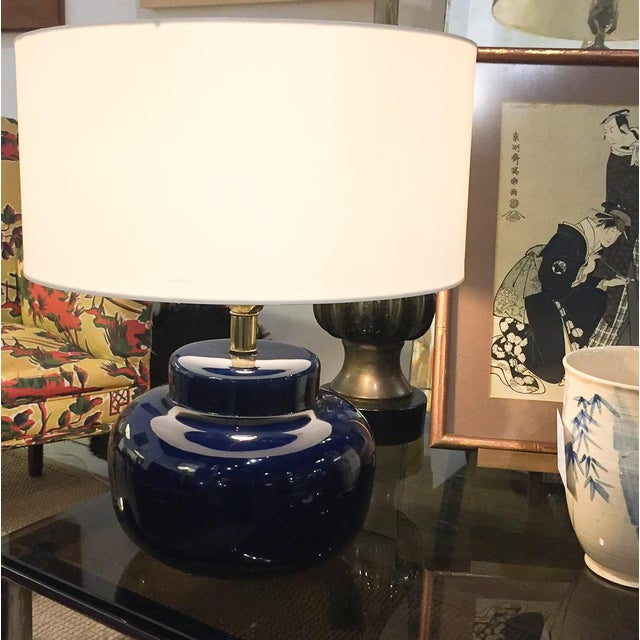 Mid Century Cobalt Blue Ceramic Lamp - Image 6 of 8
