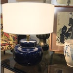 Image of Mid Century Cobalt Blue Ceramic Lamp