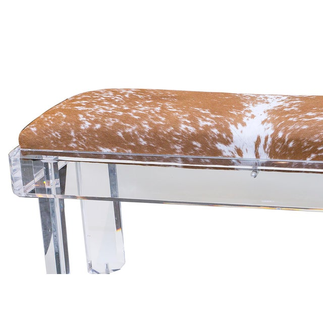 Image of 1970s Lucite Hide Bench