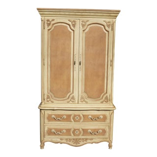 French Country Cottage Thomasville Ornate Off White Armoire Cabinet