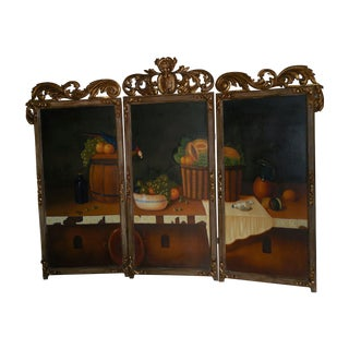 Baroque-Style Hand Painted Screen