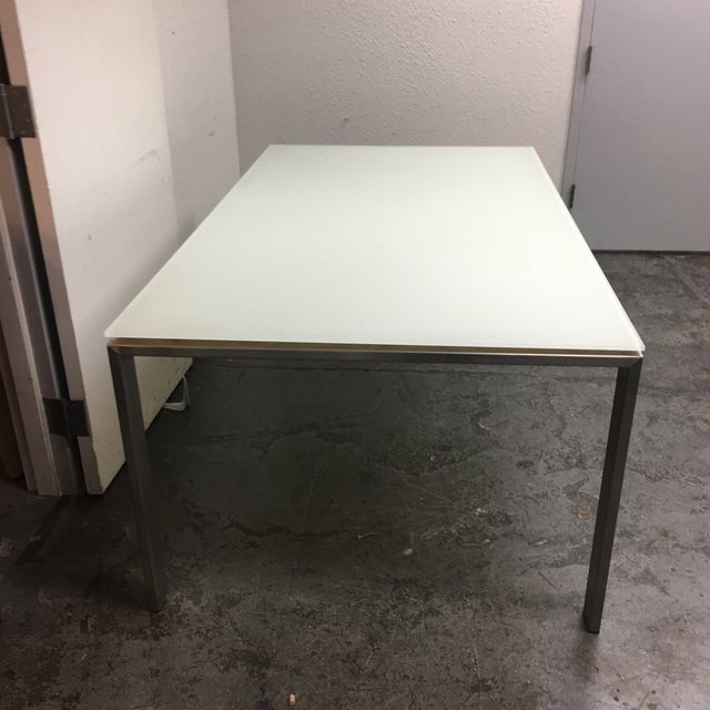 room board white glass stainless steel dining table