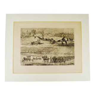 """1876 Edwin Forbes """"Life Studies of the Great Army"""" Copper Plate Etching"""