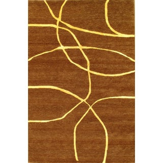 """Modern Hand-Knotted Wool Rug - 6' X 9'1"""""""
