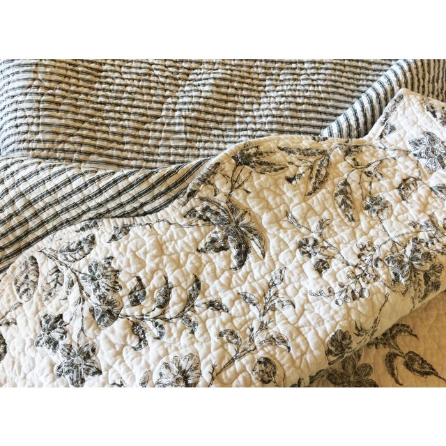 Black & White Matelasse Twin Coverlets and Shams - a Pair - Image 6 of 6
