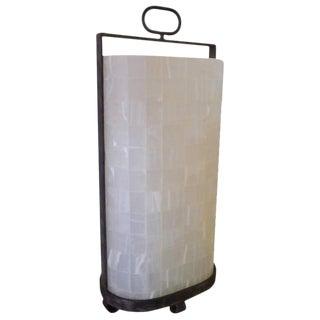 Quartz and Iron Lantern Style Tall Table Lamp