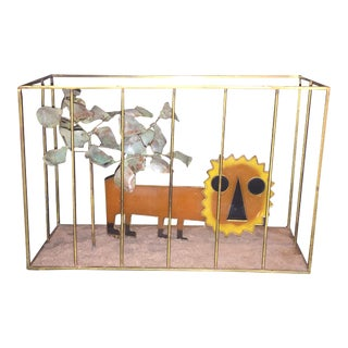 Animated Curtis Jere Orange Resin Lion in Brass Cage Sculpture