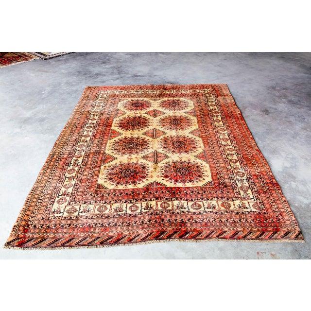 "Antique Turkoman Rug: Vintage Persian Turkoman Rug - 6'6"" X 9'3"""
