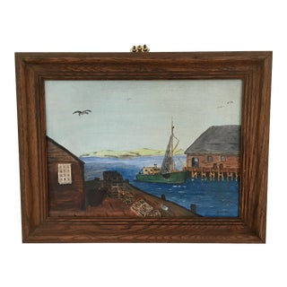 "1950s New England ""Old Fishing Pier"" Painting"