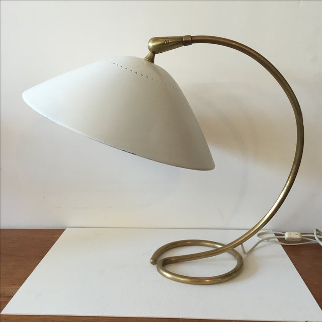 Mid-Century 1960s White & Gold Desk Lamp - Image 11 of 11