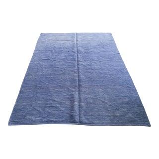Vintage Modern Indian Blue Kilim Area Rug - 5' x 8'