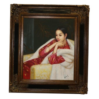 Chinese Woman Oil Painting on Canvas