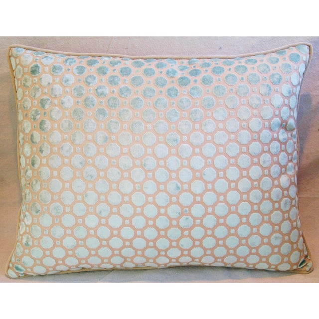 Aqua Blue Velvet Geometric Feather Down Pillow - Image 3 of 7