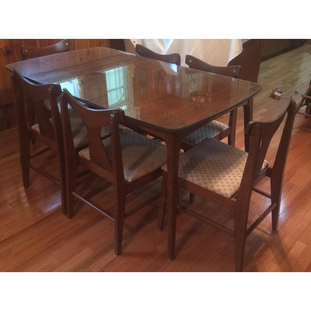 Danish Modern Dining Table With Glass Protector & Chairs - Image 4 of 5