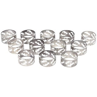 Set of 12 Hallmarked Vintage Sterling Silver Modernist Napkin Rings