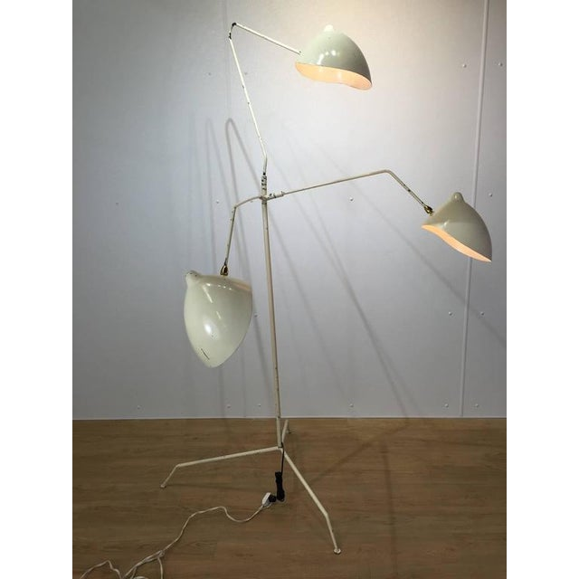Vintage serge mouille style three arm floor lamp chairish Serge mouille three arm floor lamp