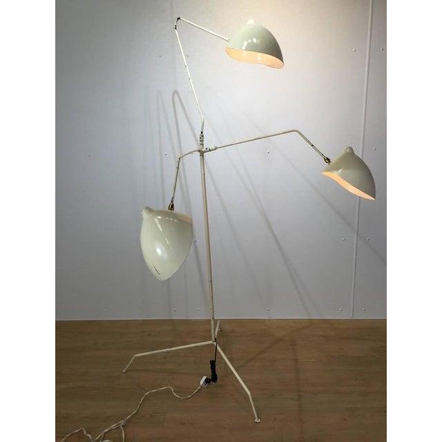 Vintage serge mouille style three arm floor lamp chairish Serge mouille three arm floor lamp