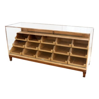 England Brass Framed Graduated Drawers Store Display Showcase