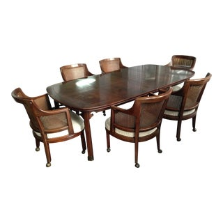 Henredon Game Table With 6 Cane-Back Chairs