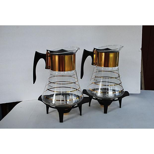 Image of Mid-Century Gold Glass Coffee Carafes - A Pair