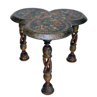 Finely Decorated Kashmiri Lacquered Clover-Leaf Side Table on Spiral Supports