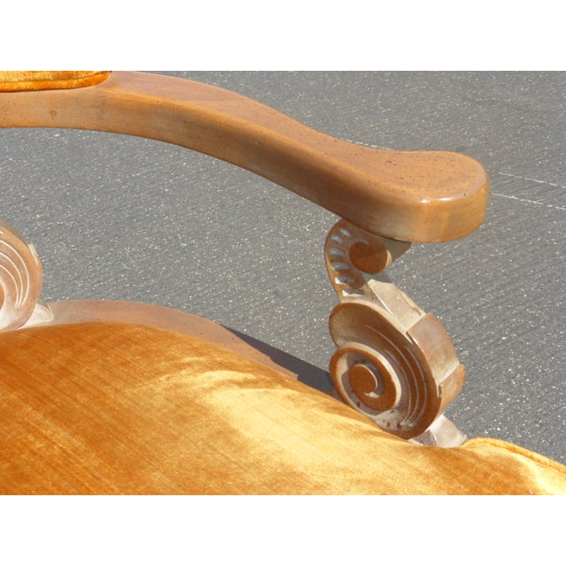 Image of Hollywood Regency Orange Velvet Chairs - A Pair