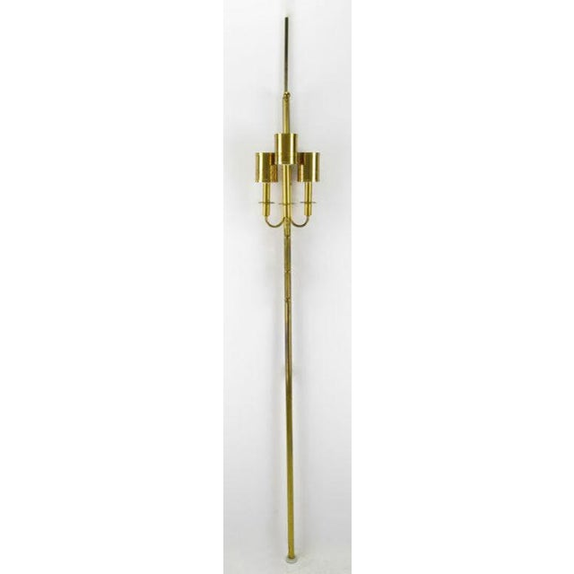 Three Light Pole Lamp With Polished & Pierced Brass Shades - Image 2 of 7