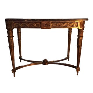 Neoclassical Gilt Wood & Marble Top Console
