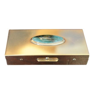 Turquoise & Brass Coushon Box