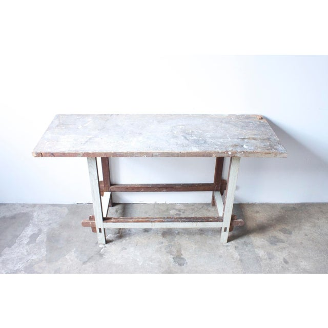 White Painted Wooden Work Table - Image 3 of 4