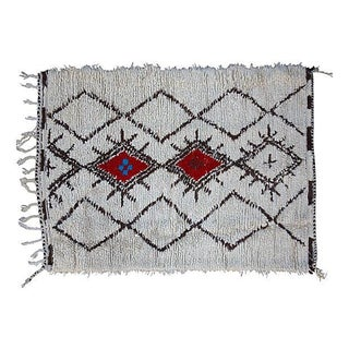"White & Red Moroccan Rug - 5'5"" X 3'3"""
