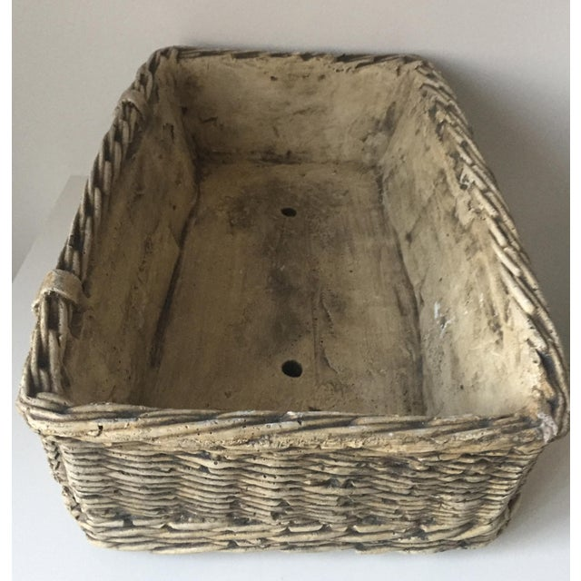 Vintage Concrete Basket Planter - Image 4 of 6