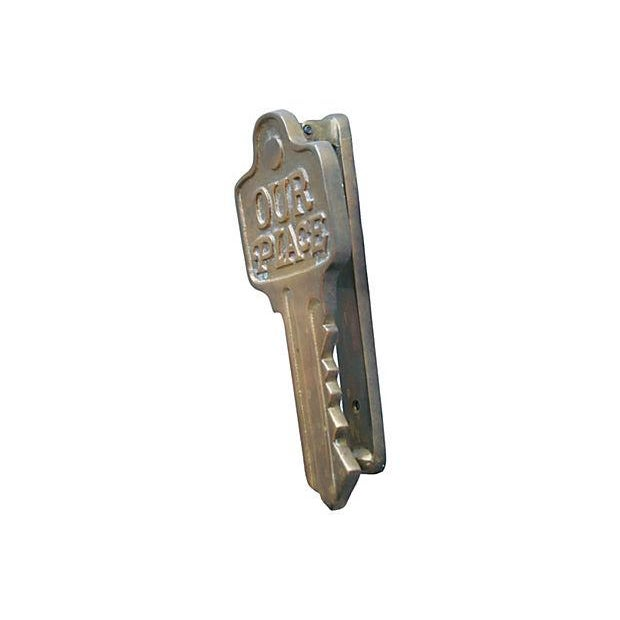 Image of 1950s Brass Key-Motif Door Knocker