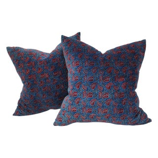 Cotton Velvet Indian Design Pillows - Pair