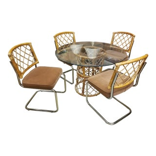 Unique Vintage Mid Century Modern Dining Room Set Table & Chrome and Rattan Chairs