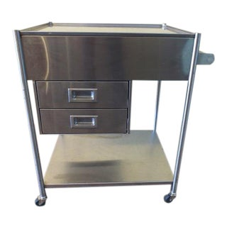 Industrial Brushed Metal Bar Cart