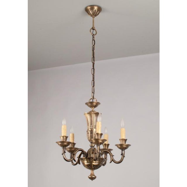 French Gilded Bronze Chandelier circa 1920's - Image 2 of 9