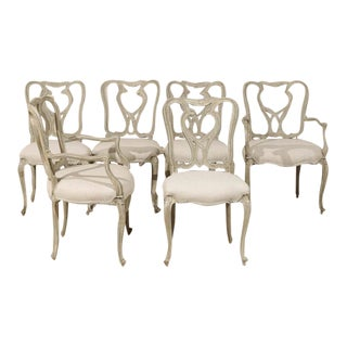 Set of Six Venetian Style Painted Wood Dining Room Chairs