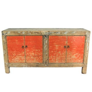 Chinese Rustic Red Gansu Cabinet Credenza
