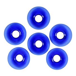 Cobalt Blue Glass Bobeches - Set of 6