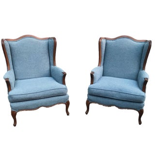Vintage Light Blue Upholstered Bergere Chairs - A Pair