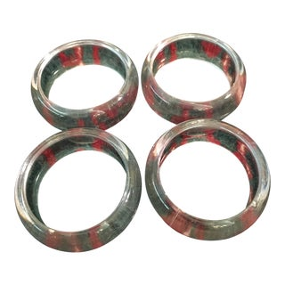 Mid-Century Clear Lucite Acrylic Napkin Rings - Set of 6