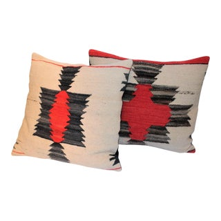 Pair of Amazing Early Navajo Geometric Weaving Pillows