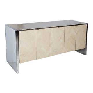 Ello Credenza Finished in Travertine