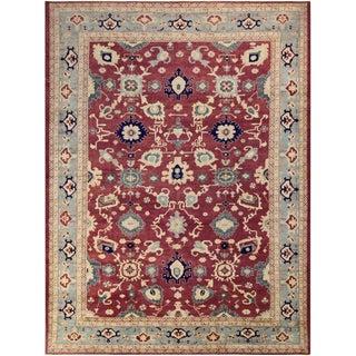 Kafkaz Peshawar Verna Red/Light Blue Wool Rug - 10'2 X 14'9