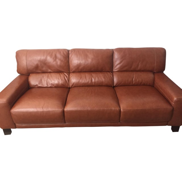 Brown Leather Couch - Image 1 of 4