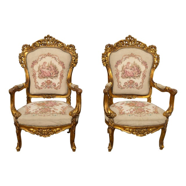 Image of Antique French Louis XV Gilt Armchairs - A Pair