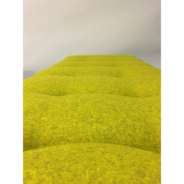Mid-Century Modern Bright Yellow Tufted Bench on Brass Base - Image 6 of 11